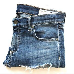 Rag & Bone Dre Capri Destroyed Blue Denim Jeans